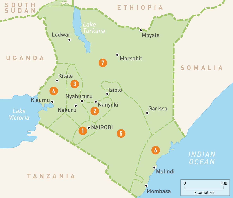 kart over kenya Kart over Kenya med provinser   Kart over Kenya viser provinser  kart over kenya