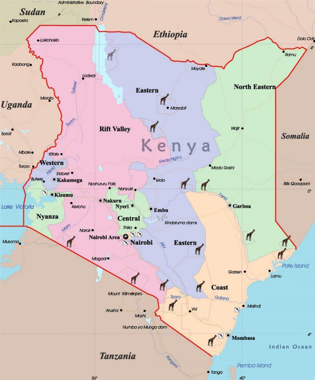stort kart Detaljert kart over Kenya   Store kart over Kenya (Øst Afrika  stort kart